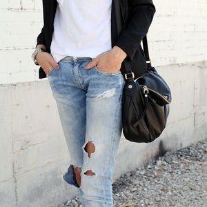 MARGOT black genuine leather hobo crossbody bag